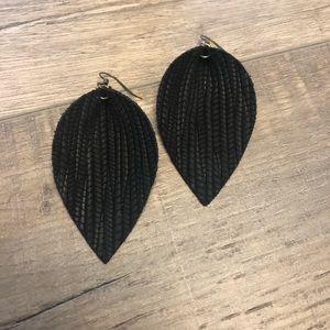 Black Palm Leaf Leather Earrings